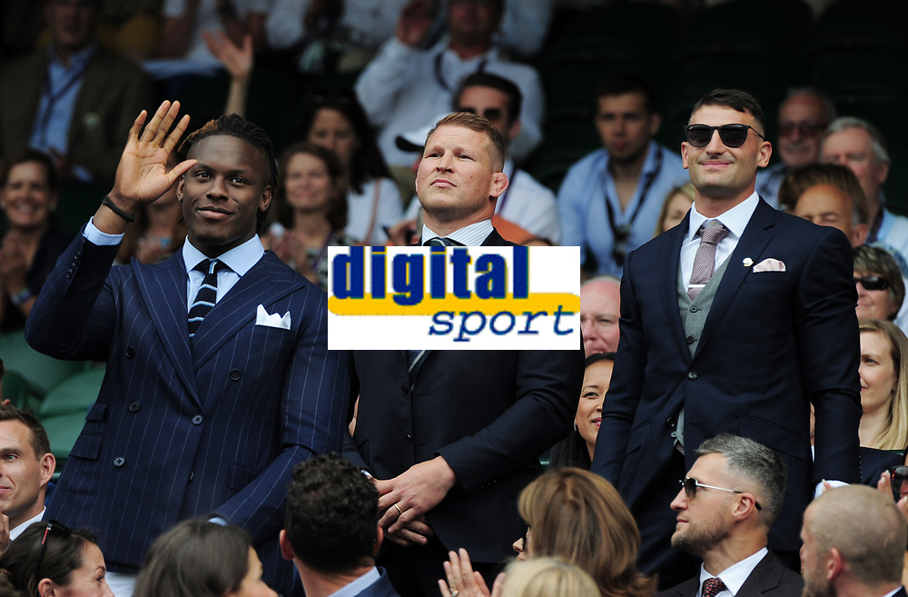 Tennis - 2019 Wimbledon Championships - Week One, Saturday (Day Six)<br /> <br /> Mens Singles, 3rd Round <br /> Sports Men and Women in the Royal Box on Centre Court<br /> <br /> England Rugby Union stars Maro Itoje, Dylan Hartley and Jonny May<br /> <br /> COLORSPORT/ANDREW COWIE