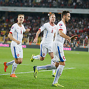 Czech Republic's Tomas Sivok (R) celebrate his goal with team mate during their UEFA Euro 2016 qualification Group A soccer match Turkey betwen Czech Republic at Sukru Saracoglu stadium in Istanbul October 10, 2014. Photo by Aykut AKICI/TURKPIX