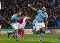 Football - 2018 Carabao (EFL/League) Cup Final - Manchester City vs. Arsenal<br /> <br /> Vincent Kompany (Manchester City) runs off in celebration after scoring at Wembley.<br /> <br /> COLORSPORT/DANIEL BEARHAM