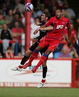 Photo: Lee Earl/Richard Lane Photography<br /> Aldershot v Bournemouth. Coca-Cola Football League Two. 16/08/2008. Aldershot's John Grant (R) and Lee Bradbury battle in the air.