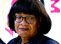 Labour MP Diane Abbott speaks at a rally in support of England footballers Marcus Rashford, Jadon Sancho and Bukayo Saka who were racially abused on social media Whitehall, London photo by  Krisztian  Elek