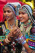 Indian dancers from Jodhpur, Rajasthan, in traditional dress for Diwali, festival of lights and Hindu New Year, Christchurch