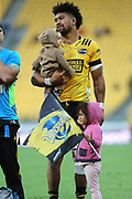 Hurricanes Ardie Savea with his kids. Super Rugby Aotearoa. Hurricanes v Crusaders, Sky Stadium, Wellington. Sunday 11th April 2021. Copyright photo: Grant Down / www.photosport.nz