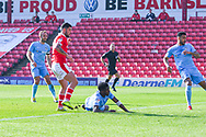 Alex Mowatt of Barnsley (27) scores a goal to make the score 1-0 during the EFL Sky Bet League 1 match between Barnsley and Coventry City at Oakwell, Barnsley, England on 30 March 2019.