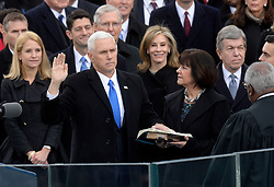 Vice President Mike Pence takes the oath of office during the 58th Presidential Inauguration on January 20, 2017 in Washington, DC..Photo by Olivier Douliery/Abaca
