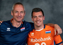 21-05-2019 NED: Team shoot Dutch volleyball team men, Arnhem<br /> Stijn Held #20 of Netherlands, Ass. coach Henk-Jan Held of Netherlands
