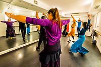 Flamenco dancing class, Escuela Carmen de Las Cuevas (built into a cave), Granada, Granada Province, Andalusia, Spain.