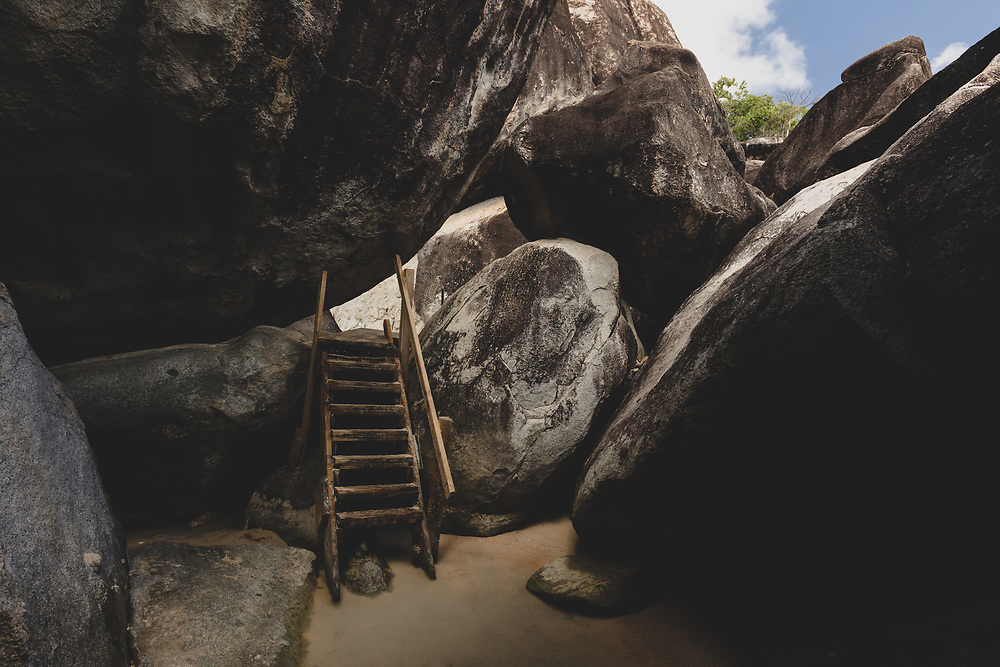 A wooden stairway within the giant boulder landscape of The Baths on Virgin Gorda.
