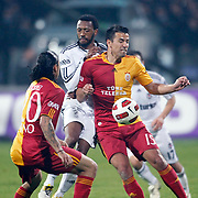 Besiktas's Manuel FERNANDES (C) and Galatasaray's Milan BAROS (R) during their Turkish Superleague Derby match Besiktas between Galatasaray at the Inonu Stadium at Dolmabahce in Istanbul Turkey on Saturday, 30 April 2011. Photo by TURKPIX