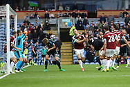 Craig Dawson of West Bromwich Albion heads the ball and scores this teams 2nd goal to make it 1-2. Premier League match, Burnley v West Bromwich Albion at Turf Moor in Burnley , Lancs on Saturday 6th May 2017.<br /> pic by Chris Stading, Andrew Orchard sports photography.