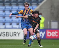 Hull City's George Honeyman battles with  Shrewsbury Town's Josh Vela<br /> <br /> Photographer Mick Walker/CameraSport<br /> <br /> The EFL League 1 - Shrewsbury Town v Hull City  - Saturday  20th March  2021 -  Montgomery Waters Meadow Stadium-Shrewsbury<br /> <br /> World Copyright © 2020 CameraSport. All rights reserved. 43 Linden Ave. Countesthorpe. Leicester. England. LE8 5PG - Tel: +44 (0) 116 277 4147 - admin@camerasport.com - www.camerasport.com