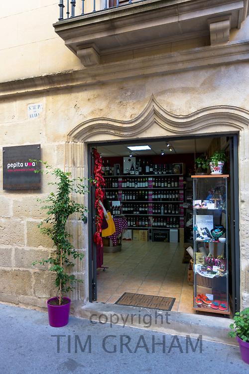 Rioja red wines on sale in wine merchants Pepita Uva shop in Laguardia, Rioja-Alavesa, Spain