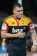 Liam Messam leaves the field with sore ribs during their game at Waikato Stadium , Chiefs v Hurricanes, at Waikato Stadium, Hamilton, New Zealand, Saturday 28 April 2012. Photo: Dion Mellow/photosport.co.nz