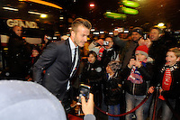 FOOTBALL - FRENCH CHAMPIONSHIP 2012/2013 - L1 - PARIS SAINT GERMAIN v OLYMPIQUE MARSEILLE - 24/02/2013 - PHOTO JEAN MARIE HERVIO / REGAMEDIA / DPPI - DAVID BECKHAM (PSG) ARRIVES IN PARC DES PRINCES STADIUM
