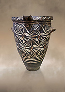 Luxury Minoan Kamares Ware pithos storage pot with incised swirl  decorations , Phaistos 1900-1700 BC; Heraklion Archaeological  Museum.<br /> <br /> This style of pottery is named afetr Kamares cave where this style of pottery was first found .<br /> <br /> If you prefer to buy from our ALAMY PHOTO LIBRARY  Collection visit : https://www.alamy.com/portfolio/paul-williams-funkystock/minoan-art-artefacts.html . Type -   Heraklion   - into the LOWER SEARCH WITHIN GALLERY box. Refine search by adding background colour, place, museum etc<br /> <br /> Visit our MINOAN ART PHOTO COLLECTIONS for more photos to download  as wall art prints https://funkystock.photoshelter.com/gallery-collection/Ancient-Minoans-Art-Artefacts-Antiquities-Historic-Places-Pictures-Images-of/C0000ricT2SU_M9w