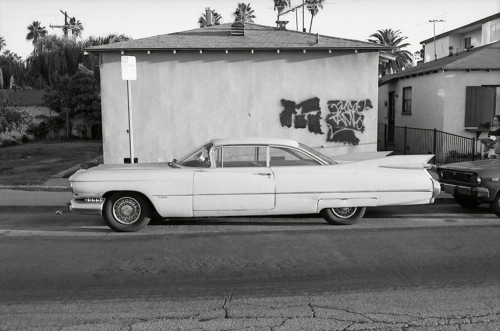 A fancy car parked on the street in Los Angeles, California. USA 1989.