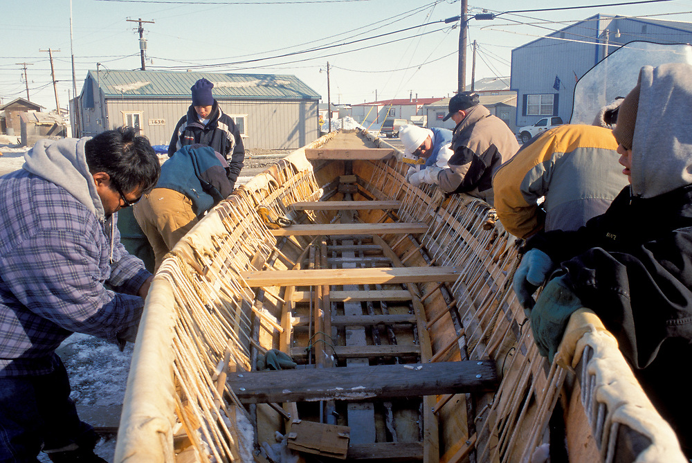 Barrow, Alaska, A Native whaling crew preparing their umiak before heading out to camp on the frozen sea ice, nearer to the open water.