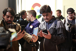 Media analysts take cellphone pictures of Google's new Pixel 2 cell phones unveiled Wednesday, October 4, 2017, at the SFJazz Center in San Francisco, CA, USA. Photo by Karl Mondon/Bay Area News Group/TNS/ABACAPRESS.COM