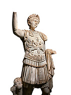 Roman statue of Emperor Trajan . Marble. Perge. 2nd century AD. Inv no . Antalya Archaeology Museum; Turkey. Against a white background. .<br /> <br /> If you prefer to buy from our ALAMY STOCK LIBRARY page at https://www.alamy.com/portfolio/paul-williams-funkystock/greco-roman-sculptures.html . Type -    Antalya     - into LOWER SEARCH WITHIN GALLERY box - Refine search by adding a subject, place, background colour, museum etc.<br /> <br /> Visit our ROMAN WORLD PHOTO COLLECTIONS for more photos to download or buy as wall art prints https://funkystock.photoshelter.com/gallery-collection/The-Romans-Art-Artefacts-Antiquities-Historic-Sites-Pictures-Images/C0000r2uLJJo9_s0