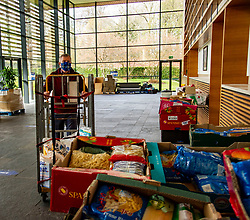 Pictured: <br />Scottish Liberal Democrat Leader Willie Rennie took the opportunity of visiting a food bank at Royal Bank of Scotland's Gogarburn Conference Centre to outline his party's plans for adult social care.<br />Ger Harley | EEm 20 April 2021