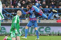 Fotball<br /> Frankrike<br /> 01.02.2015<br /> Foto: Panoramic/Digitalsport<br /> NORWAY ONLY<br /> <br /> joie de Julien Feret apres son but - Lenny Nangis (Caen)<br /> Caen vs Saint Etienne - Ligue 1