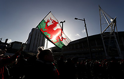 General view of Wales fans arriving to the ground before the Guinness Six Nations match at the Principality Stadium, Cardiff.