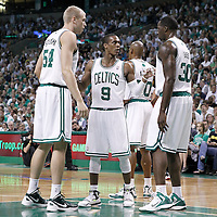26 May 2012: Boston Celtics point guard Rajon Rondo (9) talks to Boston Celtics power forward Brandon Bass (30) and Boston Celtics center Greg Stiemsma (54) during the Boston Celtics 85-75 victory over the Philadelphia Sixer, in Game 7 of the Eastern Conference semifinals playoff series, at the TD Banknorth Garden, Boston, Massachusetts, USA.