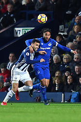 Everton's Ashley Williams and West Bromwich Albion's Hal Robson-Kanu compete for possession