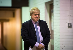 © London News Pictures. 15/04/2016. Manchester, UK.  Mayor of London BORIS JOHNSON waits to talk at a Vote Leave campaign event in Manchester, ahead of a referendum on Britain's membership of the EU on June 23rd, 2016.  . Photo credit: Ben Cawthra/LNP