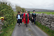"""18/04/2017 REPRO FREE:  <br /> Post BAC Graduates  Charlotte Lavelle and  Morgan Whitehead, MFA Graduate Sherry Erskine , PHD Elizabeth Matthews, MFA Graduate Joan Nanfuka MA graduate Angel Cray  who graduated from at the 13th conferring ceremony, held in the Minstrels gallery the 16th century Newtown Castle at the heart of the BCA campus, exemplifies the continued success of the Burren's  alternative model of art education . The Irish and  international graduates included Elizabeth Matthews, conferred with  a PhD for her research on Utopian studies , and six international graduates whose work on display in the BCA gallery addressed the ultimate question, """"who am I called to be"""" In her address President of the college Mary Hawkes Greene referred to the unique place based educational  model  committed to  individual student centred  education accredited by NUIGalway , and how it effectively  embraces the often conflicting forces of the global and the local, the public and the private as well as the collective and the individual. <br /> .  Photo:Andrew Downes, xposure"""