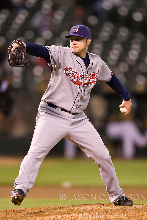 April 23, 2010; Oakland, CA, USA;  Cleveland Indians relief pitcher Aaron Laffey (32) during the sixth inning against the Oakland Athletics at Oakland-Alameda County Coliseum. Oakland defeated Cleveland 10-0.