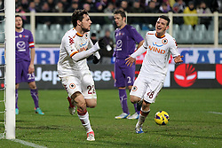 16.01.2012, Stadio Artemio Franchi, Florenz, ITA, TIM Cup, AC Florenz vs AS Rom, Viertelfinale, im Bild Esultanza di Mattia Destro Roma dopo il gol.Goal celebration // during the Italian TIM Cup quarterfinal match between ACF Fiorentina and AS Roma at the Artemio Franchi Stadium, Florence, Italy on 2013/01/16. EXPA Pictures © 2013, PhotoCredit: EXPA/ Insidefoto/ Paolo Nucci..***** ATTENTION - for AUT, SLO, CRO, SRB, BIH and SWE only *****