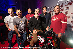 The bigwigs came in for the Indian FTR1200 Release Party during the Intermot International Motorcycle Fair. Around the bike from left to right;  Ross Clifford - VP, International Motorcycles, Rene  Basei - VP, EMEA, Grant Bester - VP, EMEA Motorcycles. Scott Wine (sitting on the bike) - Chairman and CEO, Polaris Industries, Steve Menneto - President, Indian Motorcycle and  Mike Dougherty - President, International. Cologne, Germany. Monday October 1, 2018. Photography ©2018 Michael Lichter.