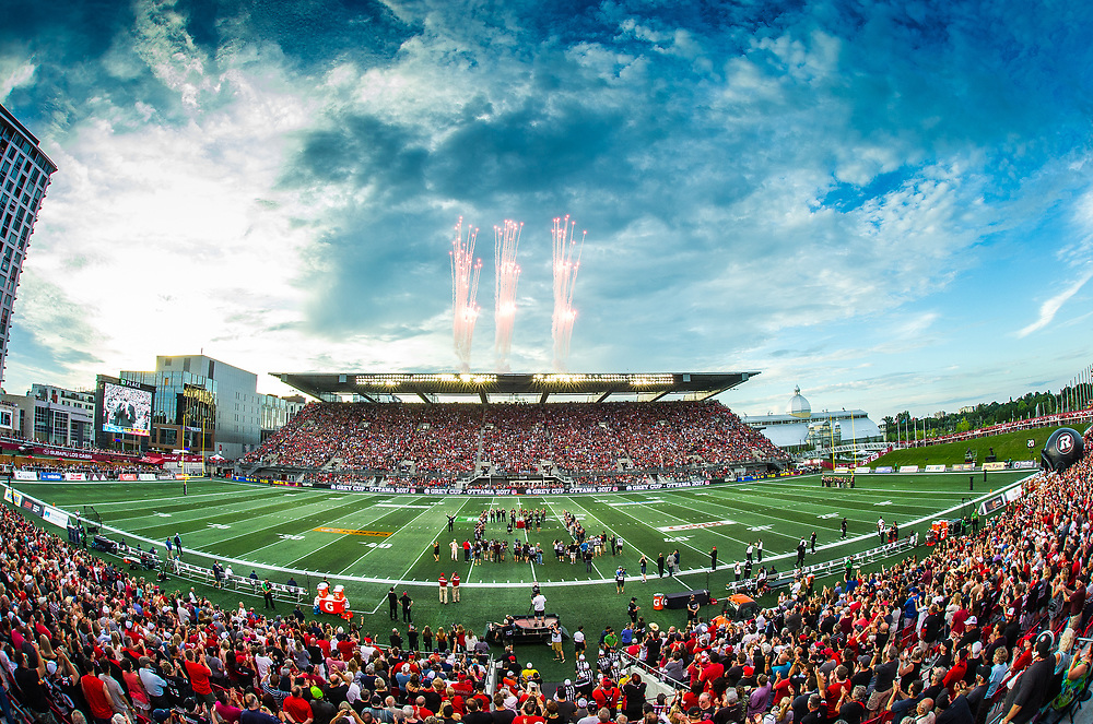 OTTAWA, ON. - JULY 31: Fireworks explode from the north stand of TD Place Stadium prior to the CFL match between the Ottawa RedBlacks and the Toronto Argonauts in Ottawa, ON. Canada on July 31, 2016.<br /> <br /> PHOTO: Steve Kingsman/Freestyle Photography for Ottawa RedBlacks