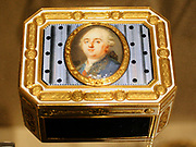 Snuffbox.  Gold, enamel, ivory.  Attributed to P.M.C.; miniature of Louis XV1. [painted by Louis-Marie Sicardi 1746-1825), Swiss ca 1790.