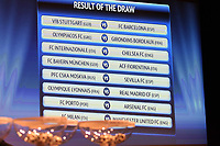 FOOTBALL - MISCS - UEFA CHAMPIONS LEAGUE 2010 - 1/8 FINAL DRAW - 18/12/2009 - PHOTO DPPI - RESULT OF THE DRAW