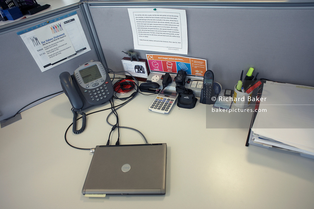 Laptop computer, phone and workstation equipment in offices of an auditing company  at their London headquarters