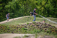 Track maintenance at Round 4 of the 2018 UCI BMX Superscross World Cup in Papendal, The Netherlands