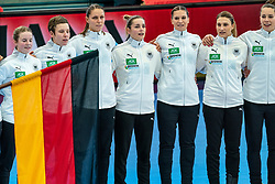 German team during lineup prior to the Women's EHF Euro 2020 match between Germany and Norway at Sydbank Arena on december 05, 2020 in Kolding, Denmark (Photo by RHF Agency/Ronald Hoogendoorn)
