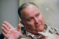 General Norman Schwarzkopf  answers a question durng an exclusive interview with TIME   The interview was in  Schwarzkopf  's office in the  USA head quarters in a bunker 12 stories below the ground in Riyadh Saudi Arabia<br />Photograph ny Dennis Brack. bb78