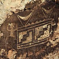 North America, USA, Arizona, Petrified Forest. Petroglyphs near Puerco Pueblo.