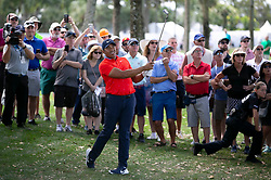 February 28, 2019 - Palm Beach Gardens, Florida, U.S. - Jhonattan Vegas hits his approach shot on the 9th hole during the first round of the Honda Classic Thursday at PGA National Resort and Spa in Palm Beach Gardens, February 28, 2019. Vegas made par on the hole and finished the first round 6 under par. (Credit Image: © Allen Eyestone/The Palm Beach Post via ZUMA Wire)