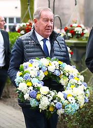 Retired footballer Alan Birchenall arrives at the funeral service for Gordon Banks at Stoke Minster.