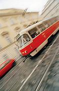 Tram running through the streets of Prague, Czech Republic