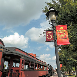 Strasburg, PA, USA - September 30, 2014: An all aboard sign at Strasburg Rail Road