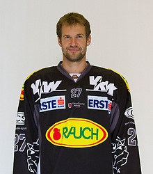 29.08.2012, Messestadion, Dornbirn, AUT, EBEL, Spielerportraits, Dornbirner Eishockey Club, im Bild Michael Henrich, (Dornbirner Eishockey Club, #27)// during Dornbirner Eishockey Club Player Portrait Session at the Messestadion, Dornbirn, Austria on 2012/08/29, EXPA Pictures © 2012, PhotoCredit: EXPA/ Peter Rinderer