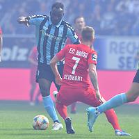 29.09.2019, Carl-Benz-Stadion, Mannheim, GER, 3. Liga, SV Waldhof Mannheim vs. FC Hansa Rostock, <br /> <br /> DFL REGULATIONS PROHIBIT ANY USE OF PHOTOGRAPHS AS IMAGE SEQUENCES AND/OR QUASI-VIDEO.<br /> <br /> im Bild: Koffi (SV Waldhof Mannheim #30) gegen Nico Neidhart (FC Hansa Rostock #7)<br /> <br /> Foto © nordphoto / Fabisch