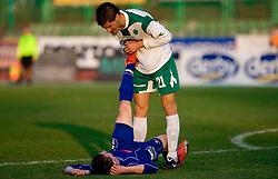 Jure Matjasic of Drava and Miroslav Cvijanovic of Olimpija  at 18th Round of PrvaLiga football match between NK Olimpija and NK Labod Drava, on November 21, 2009, in ZAK, Ljubljana, Slovenia. Olimpija defeated Drava 3:0. (Photo by Vid Ponikvar / Sportida)