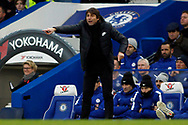 Chelsea Manager Antonio Conte imakes a point. Premier League match, Chelsea v Leicester City at Stamford Bridge in London on Saturday 13th January 2018.<br /> pic by Steffan Bowen, Andrew Orchard sports photography.