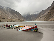 Abandoned boats. Devastation upstream from the 30 Kilometers Abbotabad Lake, result of a huge landslide that took place in January 2010.